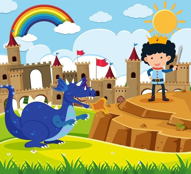 Scène de conte de fées avec le prince et le dragon bleu