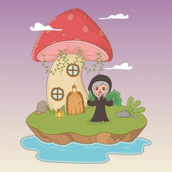 Scène de conte de fées avec sorcière