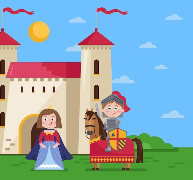 Scène de conte de fées en style cartoon