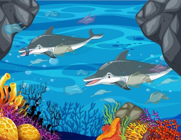 Scène de contrôle de la pollution avec des dauphins et des sacs en plastique