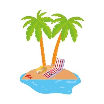 Scène de la côte d'été avec des palmiers et une chaise