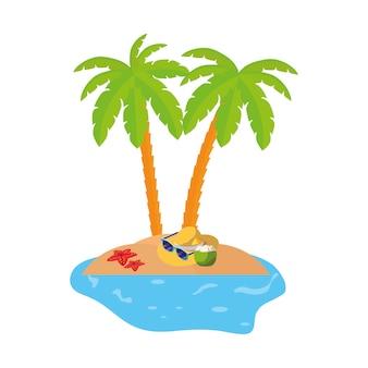 Scène de la côte d'été avec des palmiers et un chapeau de paille