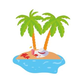 Scène de la côte d'été avec palmiers et cocktail
