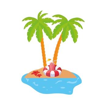 Scène de la côte d'été avec palmiers et flotteur