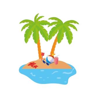 Scène de la côte d'été avec palmiers et jouet ballon