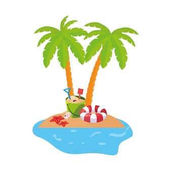 Scène de la côte d'été avec des palmiers et de la noix de coco