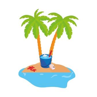 Scène de la côte d'été avec des palmiers et un seau d'eau