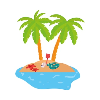Scène de la côte d'été avec des palmiers et des tongs