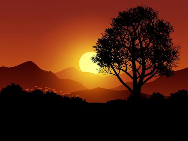 Scène de coucher de soleil brillant avec silhouette d'arbre et de montagne