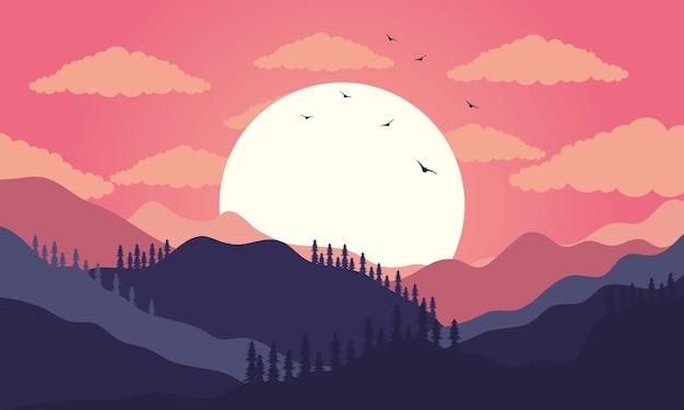 Scène de coucher de soleil magnifique paysage avec illustration de montagnes