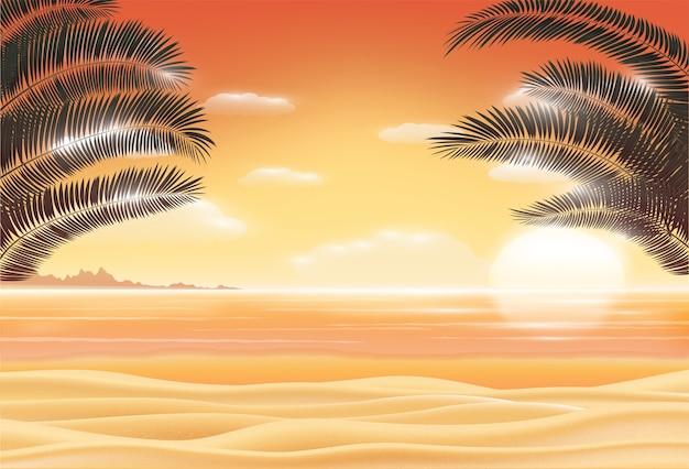 Scène de coucher de soleil sur la mer plage de sable avec la feuille de cocotier