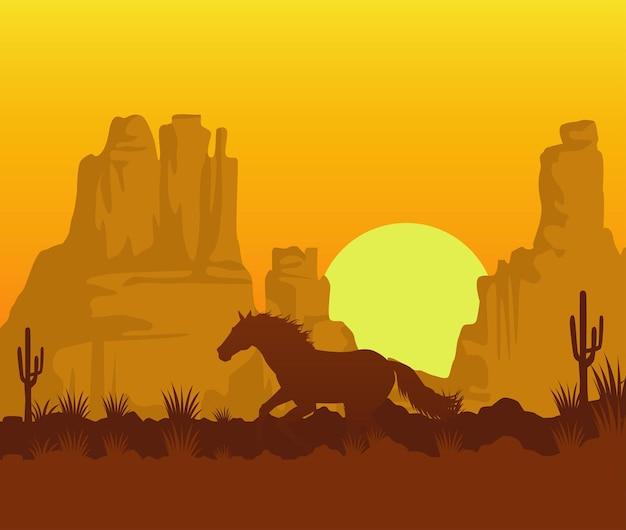 Scène de coucher de soleil de l'ouest sauvage avec cheval en cours d'exécution dans le désert