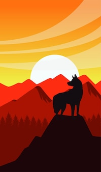 Scène de coucher de soleil de l'ouest sauvage avec la silhouette de la mascotte de chien