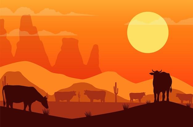 Scène de coucher de soleil de l'ouest sauvage avec des vaches