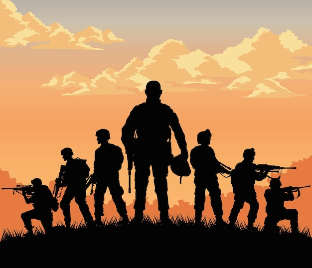 Scène de coucher de soleil de sept soldats