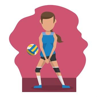 Scène de couleur avec une joueuse de volleyball sans visage