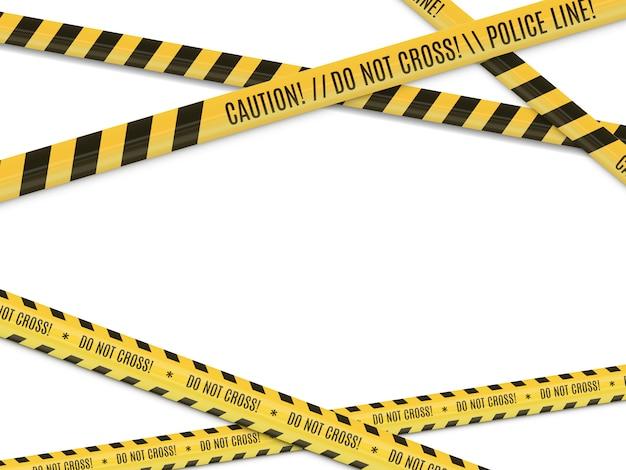 Scène de crime. avertissement de danger clôture à ruban.