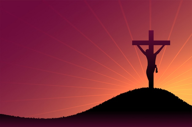 Scène de crucifixion de jésus-christ au crépuscule et aux rayons du soleil