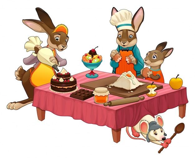 Scène de la cuisine drôle avec des lapins faisant des bonbons vector cartoon objets isolés