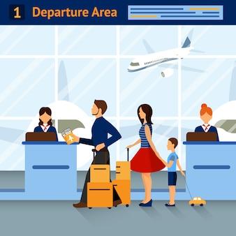 Scène dans la zone de départ de l'aéroport