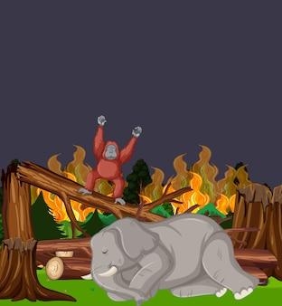 Scène de déforestation avec éléphant et feu de forêt