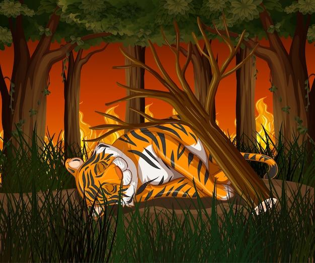 Scène de déforestation avec tigre et feu de forêt