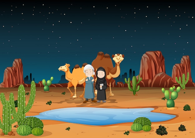 Scène de désert avec des arabes et des chameaux