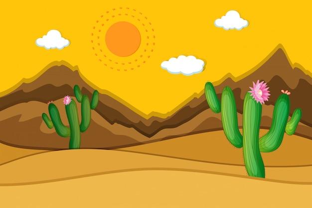 Scène de désert avec des cactus au premier plan