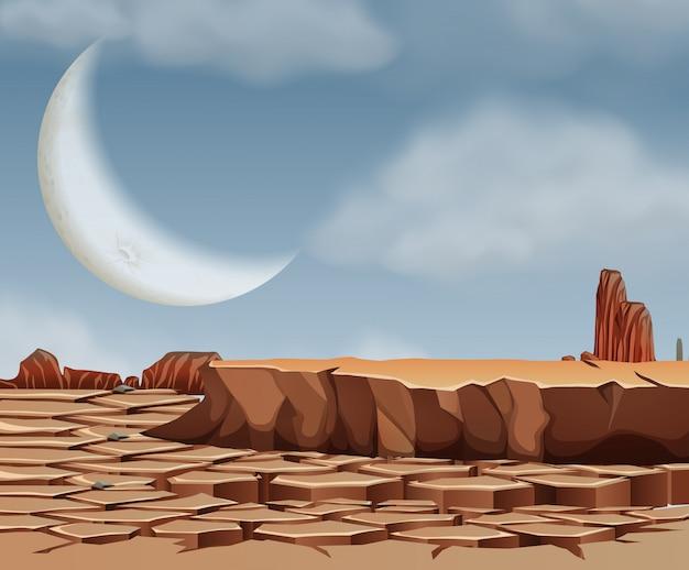 Scène de désert avec lune présente