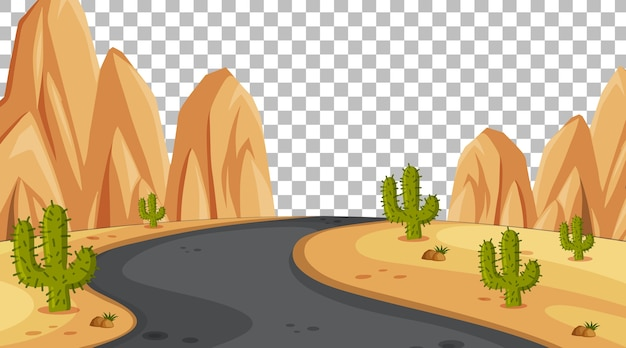 Scène de désert de nature vierge avec paysage de longue route sur fond transparent