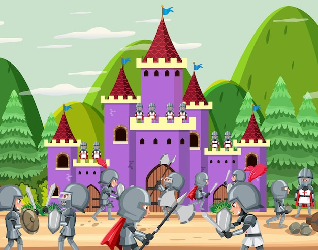 Scène de dessin animé de guerre médiévale