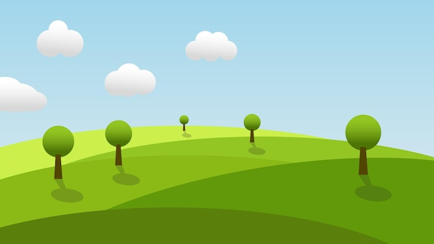 Scène de dessin animé de paysage avec des arbres d'herbe verte sur la colline et des nuages blancs sur fond de ciel bleu d'été