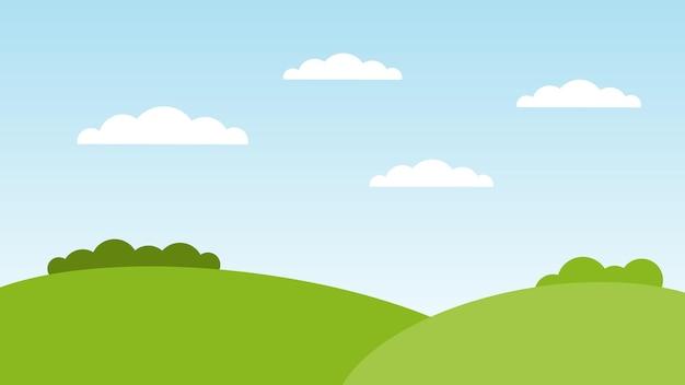 Scène de dessin animé de paysage avec des collines verdoyantes et des nuages blancs sur fond de ciel bleu d'été