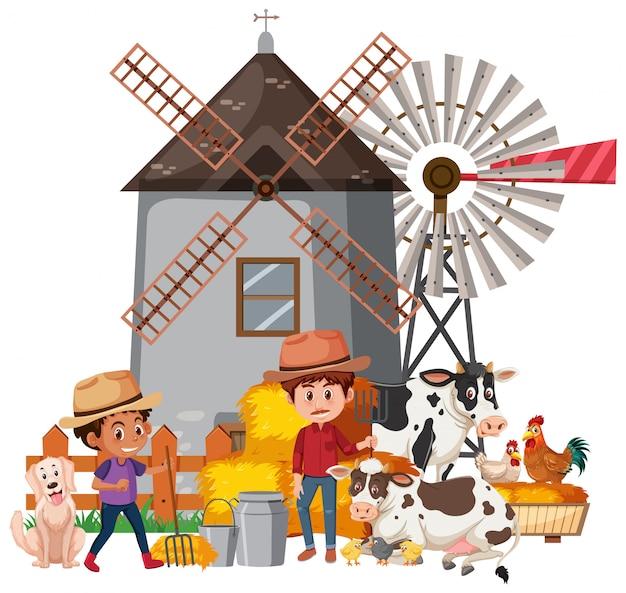 Scène avec deux agriculteurs et de nombreux animaux à la ferme