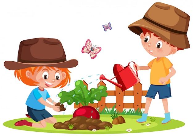 Scène avec deux enfants plantant des légumes dans le jardin