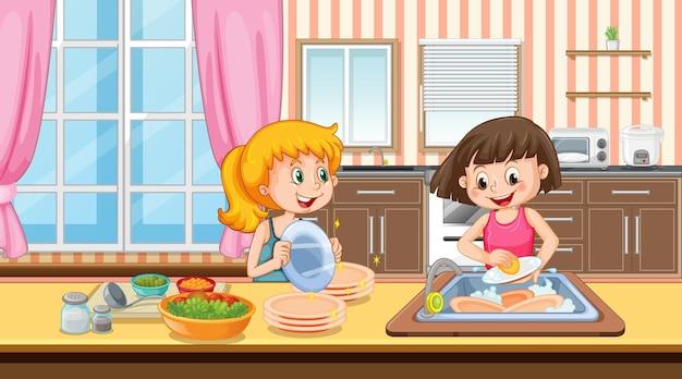 Scène avec deux filles lavant la vaisselle dans la cuisine