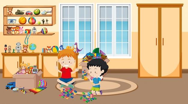 Scène avec deux garçons jouant dans la chambre