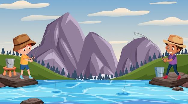 Scène avec deux garçons pêchant au bord du lac
