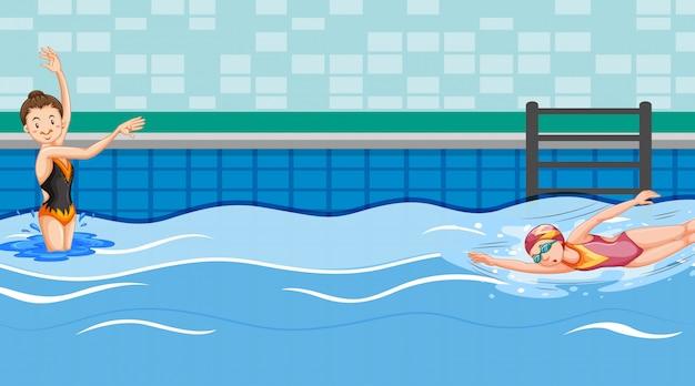 Scène avec deux nageurs dans la piscine