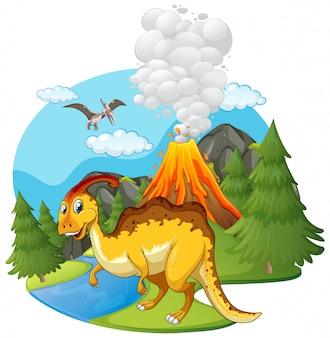 Scène avec dinosaures et volcan