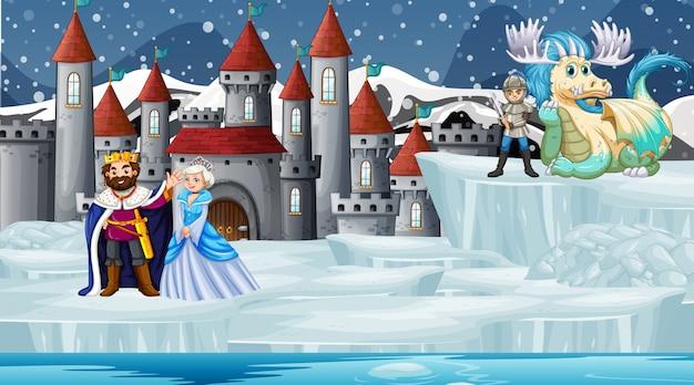 Scène avec dragon et château