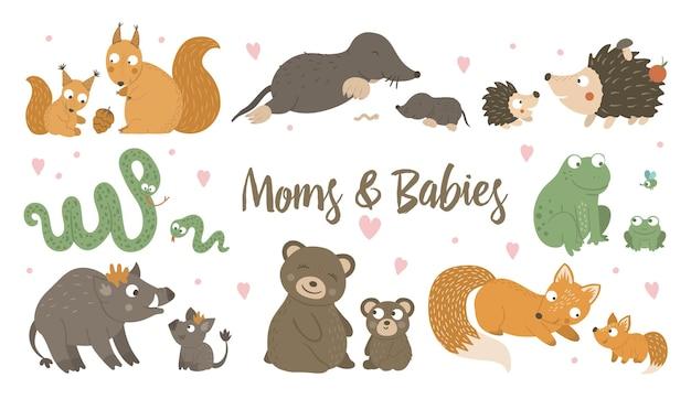 Scène drôle d'animaux des bois montrant l'amour de la famille