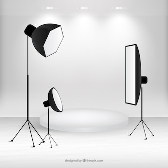 Scène avec du matériel studio de photographie