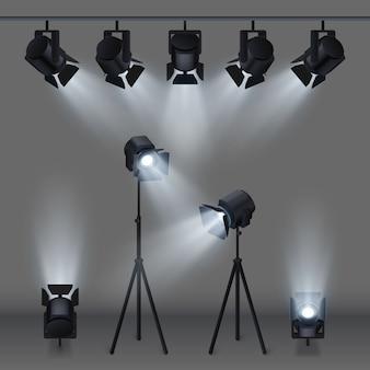 Scène éclairée avec des projecteurs de studio