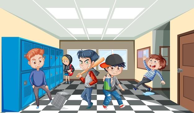 Scène d'école avec le personnage de dessin animé d'étudiants