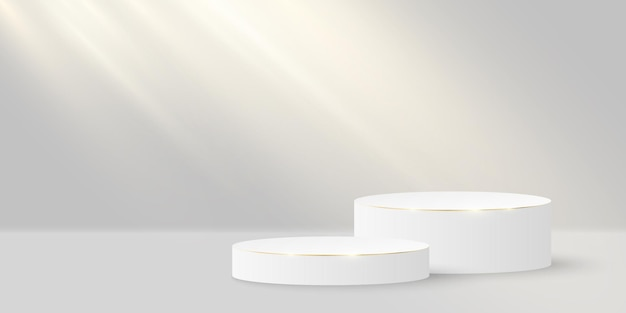 Scène élégante Minimaliste. Cylindre 3d Avec De L'or Sur Un Blanc. Plate-forme Ou Podium Avec Lumière Incidente. Vecteur Premium