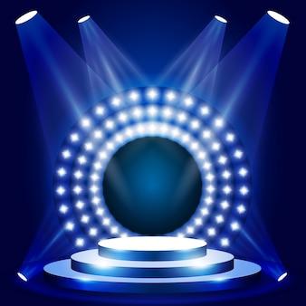 Scène de l'émission de télévision avec cercle de lumières - scène ou podium pour la cérémonie de remise des prix, spectacle podium