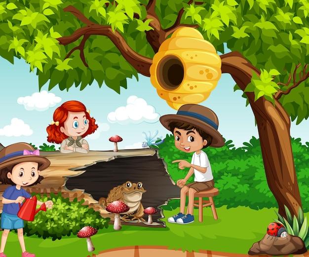 Scène avec des enfants et des animaux dans le parc