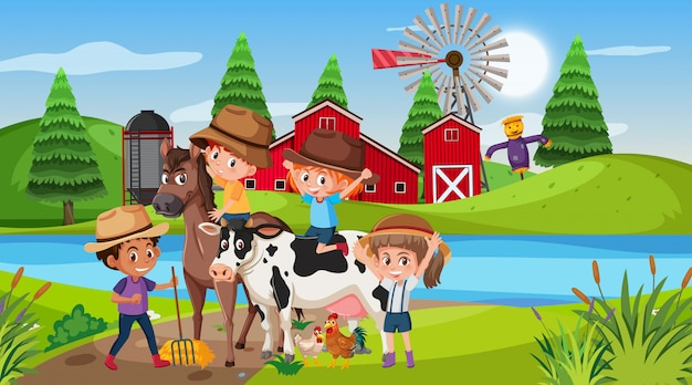 Scène avec des enfants et des animaux à la ferme