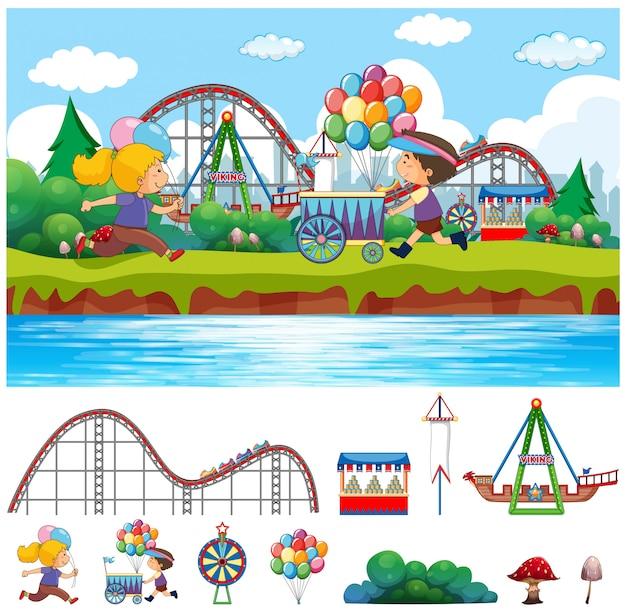 Scène avec des enfants au parc du cirque